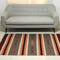 Wool area rug Majestic Stripes 4x6 India