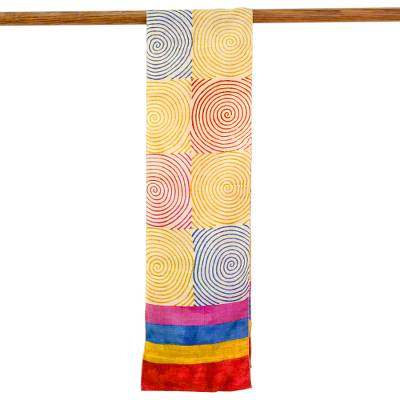 Silk scarf, 'Adventurous Life' - Hand Woven Multicolored Silk Scarf from India