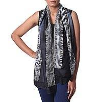Silk scarf, 'Midnight Muse in Slate' - Hand Woven Silk Scarf Black Slate Geometric from India