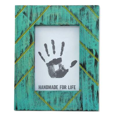 Antique Looking 5x7 Photo Frame in Greenish Blue