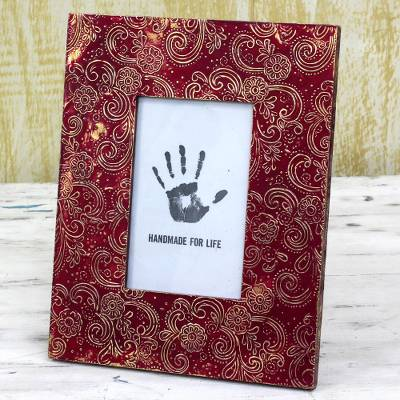 Aluminum repousse photo frame, 'Spiral Red' (4x6) - Red Aluminum Photo Frame Floral (4x6) from India