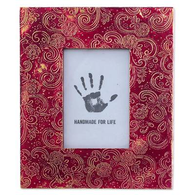 Red Aluminum Photo Frame Floral (4x6) from India