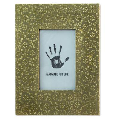 Green Aluminum Floral Photo Frame (4x6) from India