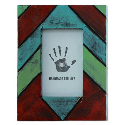 Geometric Wood Photo Frame Multicolored (4x6) from India