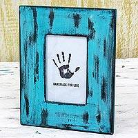 Wood photo frame, 'Weathered Blue' (4x6) - Blue Rectangular Wood Photo Frame (4x6) from India