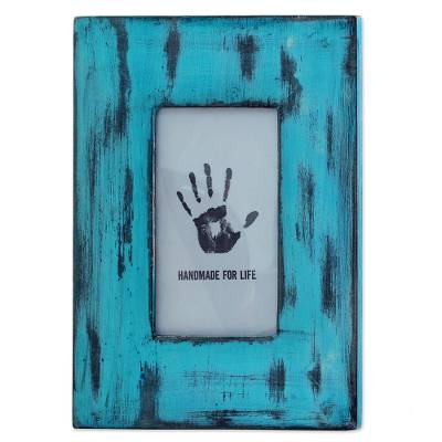 Blue Rectangular Wood Photo Frame (4x6) from India