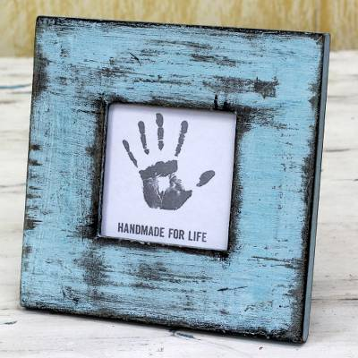 Wood photo frame, 'Rustic Blue' (3x3) - Light Blue Square Wood Photo Frame (3x3) from India
