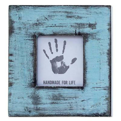 Light Blue Square Wood Photo Frame (3x3) from India