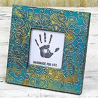 Embossed metal photo frame, 'Flowery Blue' (3x3) - Blue Floral Aluminum Wood Photo Frame (3x3) from India