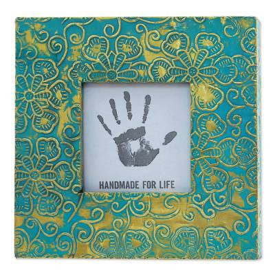 Blue Floral Aluminum Wood Photo Frame (3x3) from India