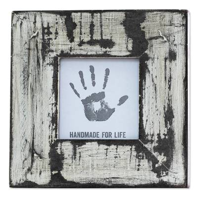 White Distressed Square Photo Frame (3x3) from India
