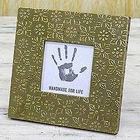 Embossed metal photo frame,
