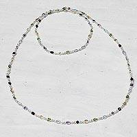 Multi-gemstone long station necklace, 'Delightful Colors' - Multi-Gem Station Necklace Garnet Amethyst Citrine
