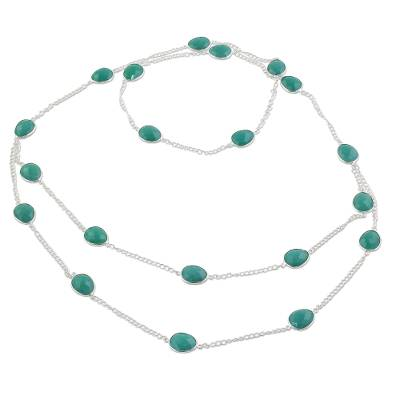 Sterling Silver Green Onyx Station Necklace from India