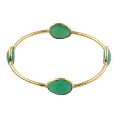 Gold Plated Sterling Silver Onyx Bangle Bracelet from India