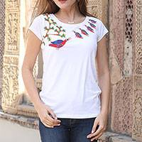 Cotton blend Madhubani t-shirt, 'Family of Birds' - White Cotton Blend T-Shirt with Madhubani Painting