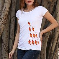 Cotton blend Madhubani t-shirt, 'Flight of Fantasy' - White Cotton Blend T-Shirt with Madhubani Bird Design