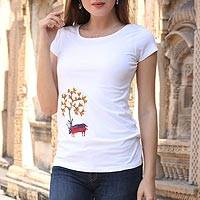 Cotton blend Madhubani t-shirt, 'Beauty of Nature' - Hand Painted Madhubani Cotton Blend T-Shirt from India