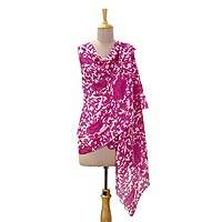 Wool and silk blend shawl, 'Fabulous Fuchsia' - Artisan Designed Wool and Silk Blend Floral Shawl