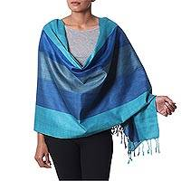 Silk shawl, 'Ocean Allure' - 100% Silk Woven Shawl in Green and Blue Stripe Pattern