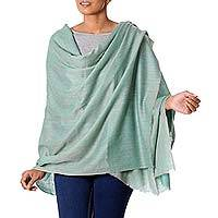 Cashmere shawl, 'Graceful Green' - Mint Green Pashmina Cashmere Shawl from India