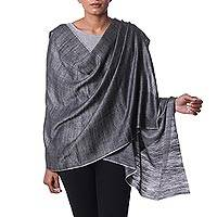 Cashmere shawl, 'Midnight Allure' - Grey Pashmina Cashmere Shawl from India