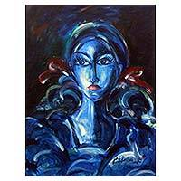 'To a Lady Unknown' - Lost in Thought Blue Lady Portrait Painting Signed by Artist