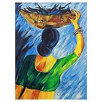 'The Fishmonger' - Signed Painting of Indian Woman Selling Fish