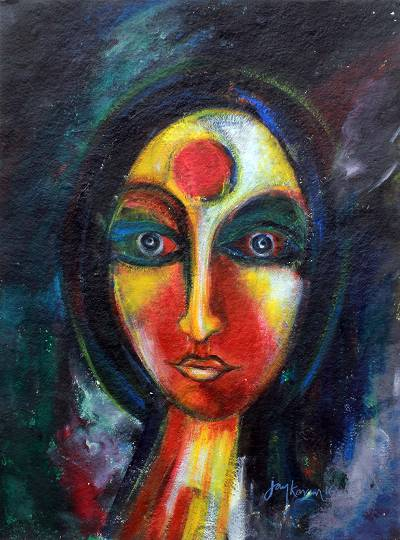 'The Devotee' - Hindu Devotee Signed Spiritual Painting by India Artist