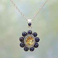 Lapis lazuli and citrine pendant necklace, 'Sunny Blue' - Citrine Lapiz Lazuli Sterling Silver Necklace NOVICA India