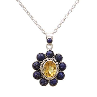 Citrine Lapiz Lazuli Sterling Silver Necklace NOVICA India
