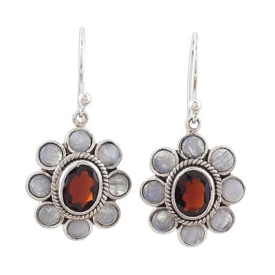 Rainbow Moonstone Garnet Sterling Silver Dangle Earrings
