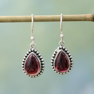 Garnet dangle earrings, 'Radiant Dewdrops' - Sterling Silver and Garnet Drop Shape Dangle Earrings