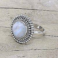 Rainbow moonstone cocktail ring, 'Rainbow Elegance' - Hand Made Rainbow Moonstone Cocktail Ring from India