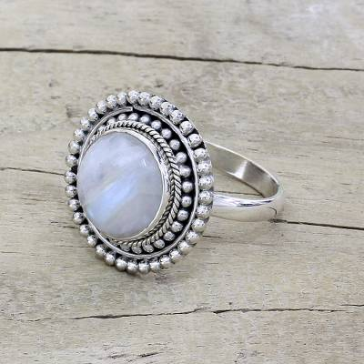 om ring silver queen - Hand Made Rainbow Moonstone Cocktail Ring from India