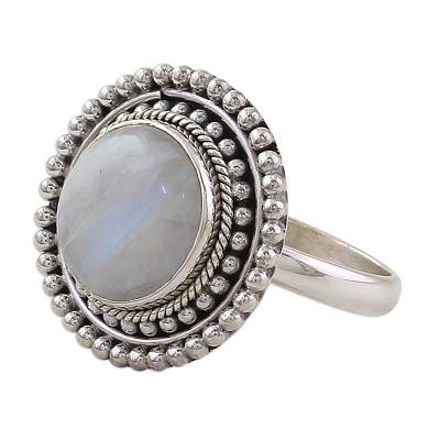 Hand Made Rainbow Moonstone Cocktail Ring from India