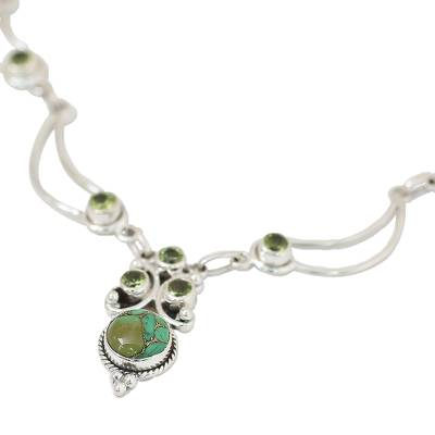 Peridot pendant necklace, 'Radiant Princess in Green' - Hand Made Peridot Turquoise Pendant Necklace from India