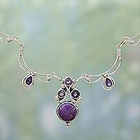 Amethyst pendant necklace, Radiant Princess in Purple - Hand Made Amethyst Turquoise Pendant Necklace from India