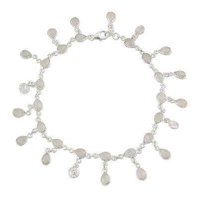 Hand Made Rainbow Moonstone Charm Anklet from India