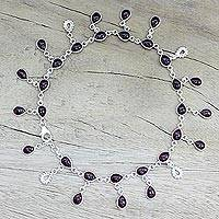 Garnet charm anklet, 'Starry Allure in Red' - Hand Made Garnet Sterling Silver Charm Anklet India