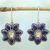 Citrine and lapis lazuli dangle earrings, Geranium Blossoms - Lapis Lazuli Citrine Floral Dangle Earrings from India