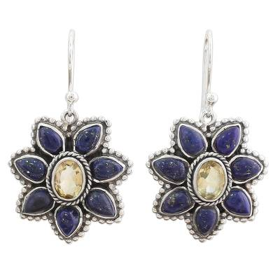 Lapis Lazuli Citrine Floral Dangle Earrings from India