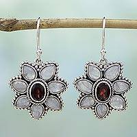Garnet and rainbow moonstone dangle earrings,