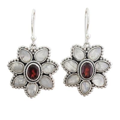 Rainbow Moonstone Garnet Dangle Earrings from India