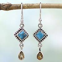 Citrine dangle earrings, 'Radiant Princess' - Hand Made Citrine Dangle Earrings from India