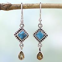Citrine dangle earrings,