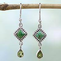 Peridot dangle earrings, 'Radiant Princess in Green' - Hand Made Peridot Dangle Earrings from India