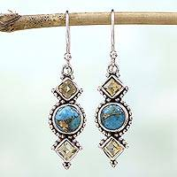 Citrine dangle earrings, 'Seashore Radiance' - Citrine and Silver Dangle Earrings from India