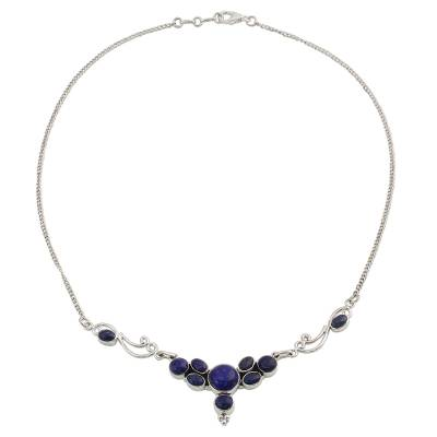 Lapis Lazuli Sterling Silver Pendant Necklace from India