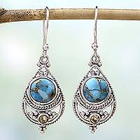 Citrine dangle earrings, 'Blue Adoration' - Citrine Composite Turquoise Dangle Earrings from India
